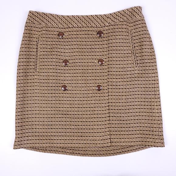 LOFT brown patterned sailor mini skirt